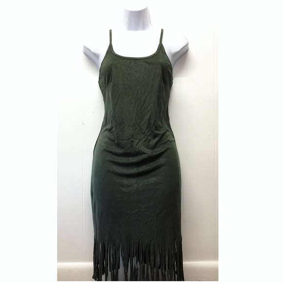 Say What? Dresses & Skirts - Say What | Green Suede Strappy Dress Fringed Edges
